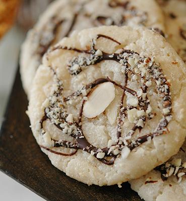 Italian Almond Cookies with Bittersweet Chocolate