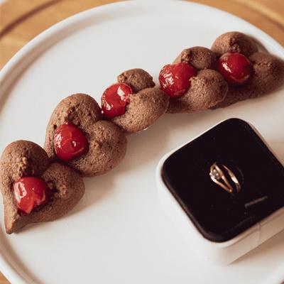 Chocolate Heart Spritz Cookies with Cherries
