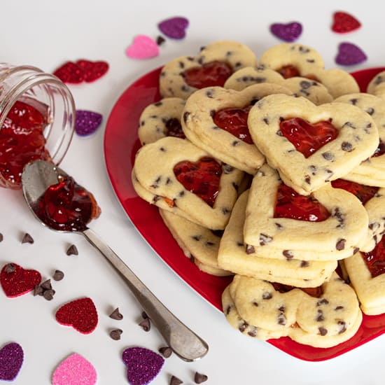 Strawberry and Chocolate Chip Heart Cookies