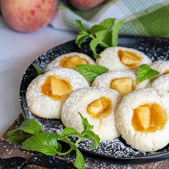 Fresh Peach and Preserve Thumbprint Cookies