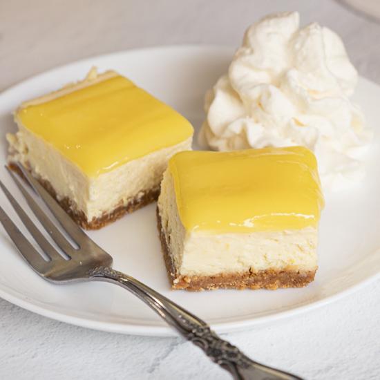 Lemon Cheesecake Bites with Lemon Curd Topping