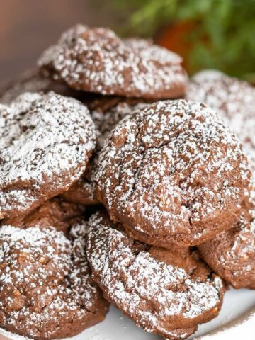Chocolate Hazelnut Cookies with Espresso Chips cookies on a white plate with powdered sugar on top.