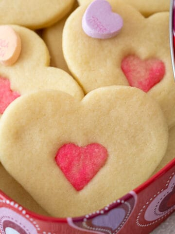 Double heart cookies in a Valentine's Box.