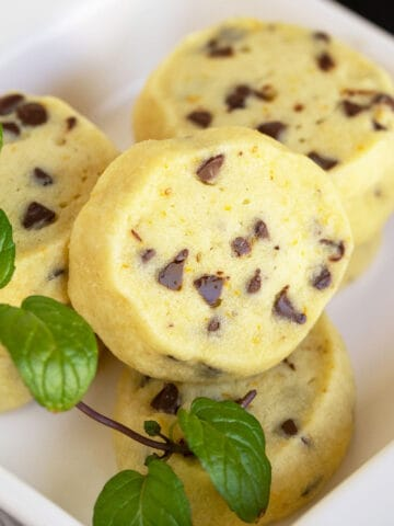 Shortbread cookies with orange anise and chocolate chips ready to eat.
