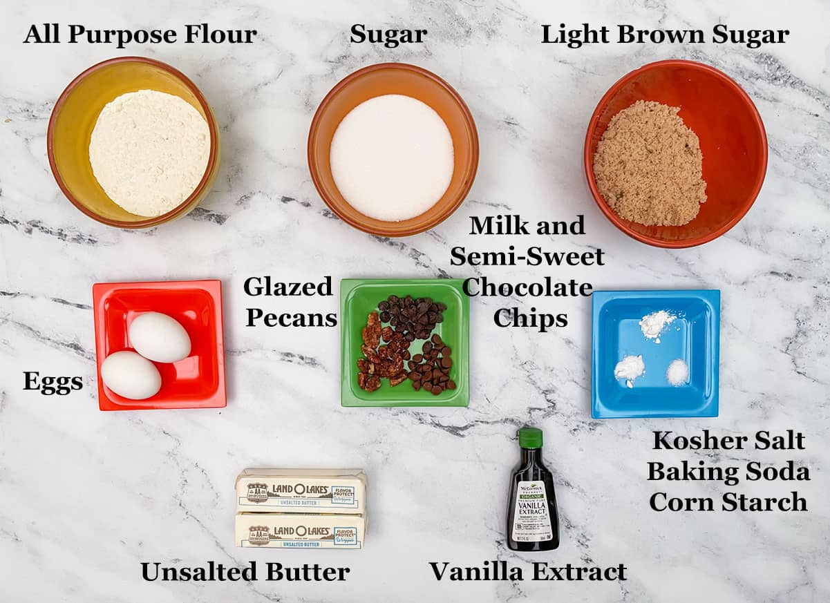Phot showing the ingredients in make chocolate chips with glazed pecans cookies.