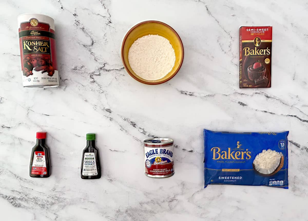 Image of all the ingredients in the Easy Macaroons cookies.