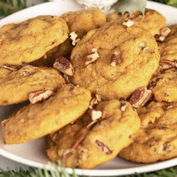 Sweet potato pie cookies on a white plate ready to eat.