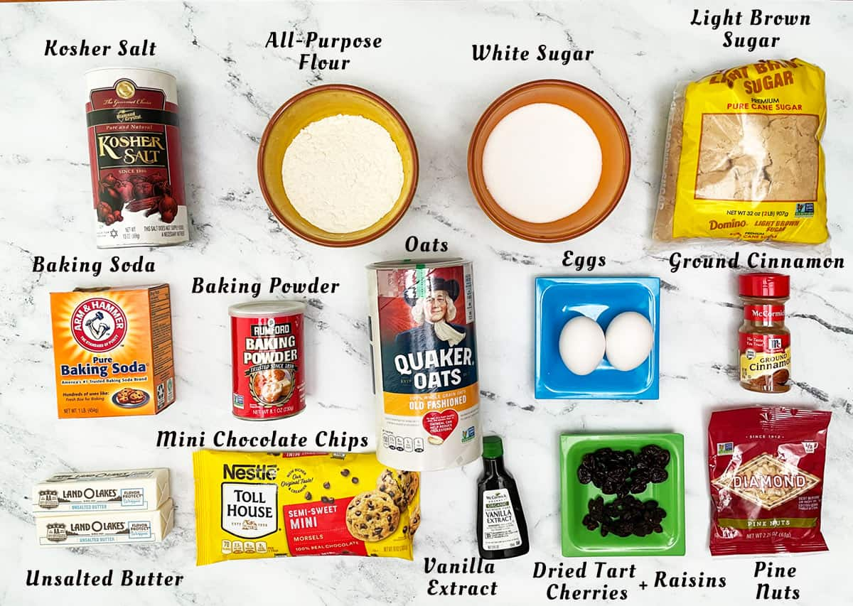 Image of the ingredients for the Everything in the Bowl Cookies.